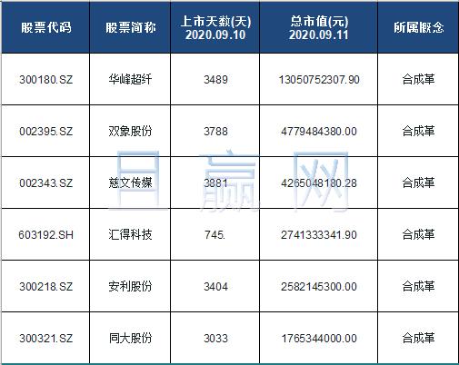 合成革概念股票名单一览及分析