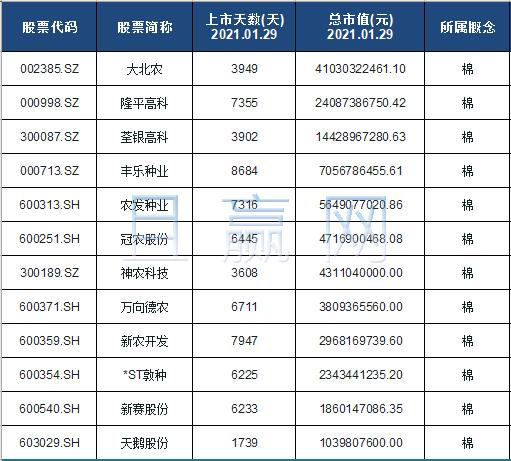 棉概念股票名单一览及分析